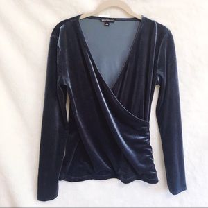 J. Crew Blue Velvet Long Sleeve Wrap Top